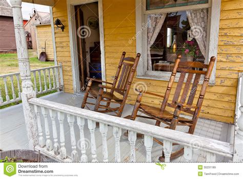 Country Homes Plans Old Rocking Chairs On Porch Royalty Free Stock Images