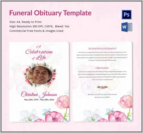 funeral program template download template resume
