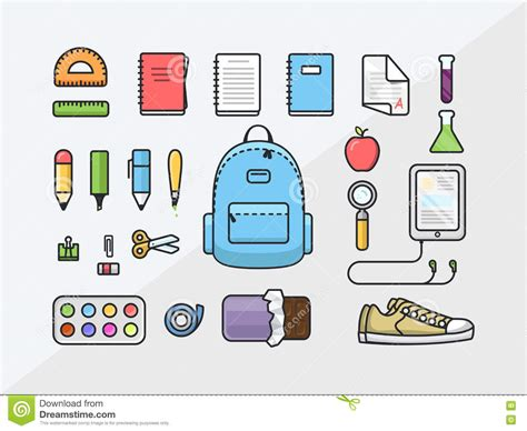 School Supplies Icon Set Back | school supplies icon set back to school outline