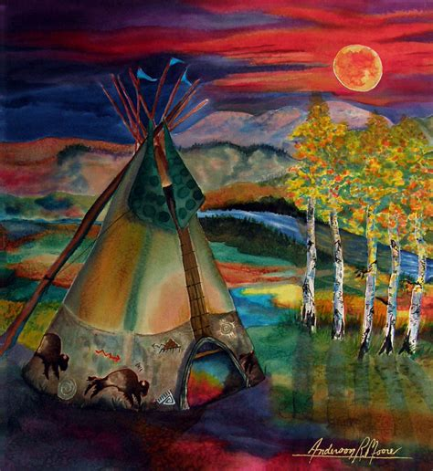 Acrylic Tipis c of the moon painting by r