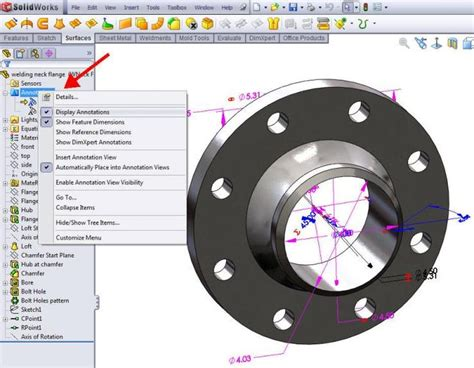 Solidwork Tutorial Guide | show annotations and dimension name in solidworks