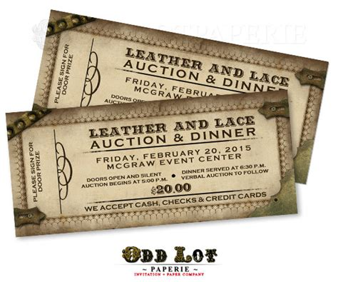 printable auction tickets steunk ticket invitations printable party invitations