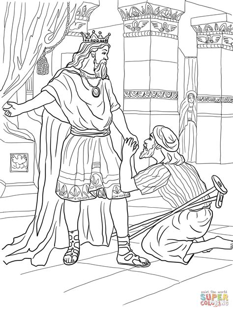 coloring pages about king david david helps mephibosheth coloring page free printable
