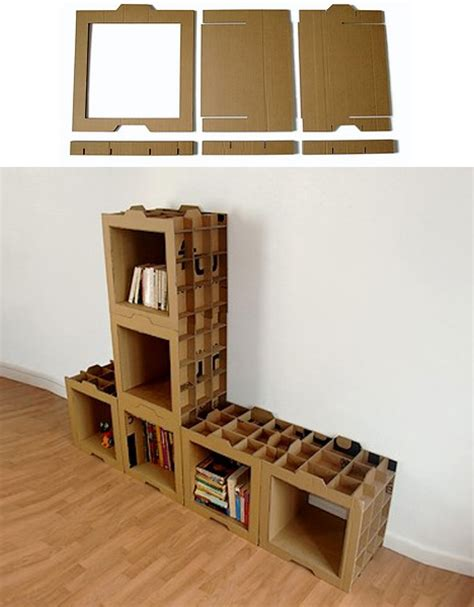 moving boxes diy modular cardboard recycling bookcases