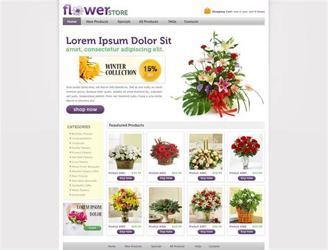 Flower Online Store Template Free Online Store Web Templates Phpjabbers Flower Website Templates