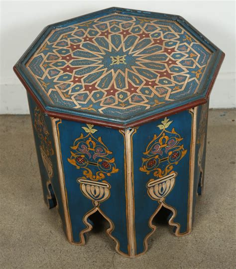 Moroccan Tables moroccan painted blue side table