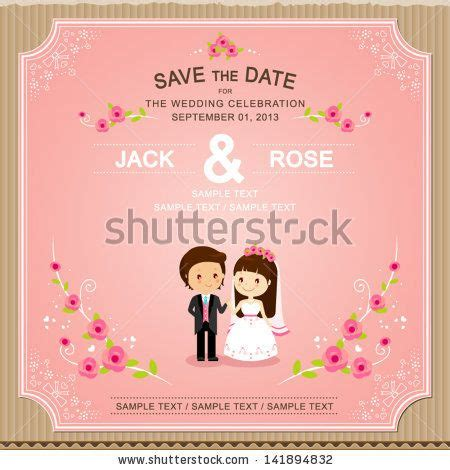 cute pink rose wedding invitation card template for my