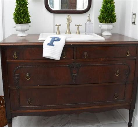 convert dresser into vanity i love the character of these converted vanities http