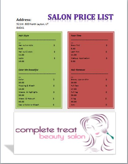 salon price list template templates pinterest price