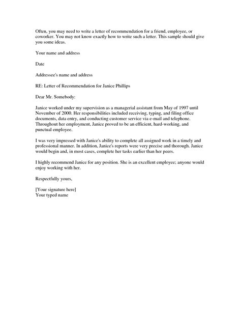 Reference Letter Exles Personal Recommendation Letter For A Friend Template Resume Builder