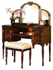 Makeup Vanity Set Cherry Cherry Brown Finish Wood Make Up Bedroom Vanity Set