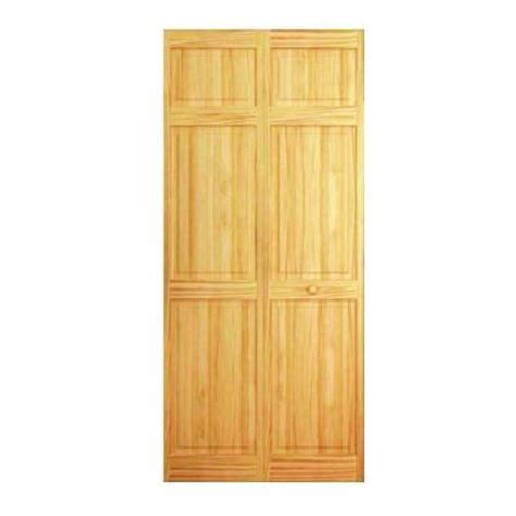 Wood Bifold Doors Interior Bay 24 In X 80 In 24 In Clear 6 Panel Solid Unfinished Wood Interior Closet Bi
