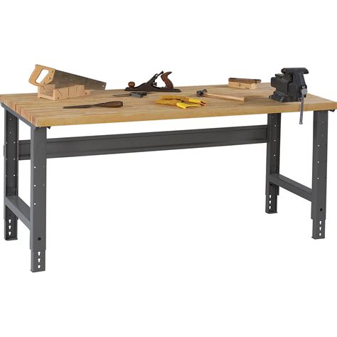 tennsco adjustable workbench wood top 60in w x 30in d