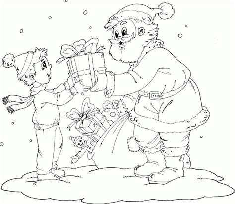 boy christmas coloring page santa giving boy a gift coloring pages printable