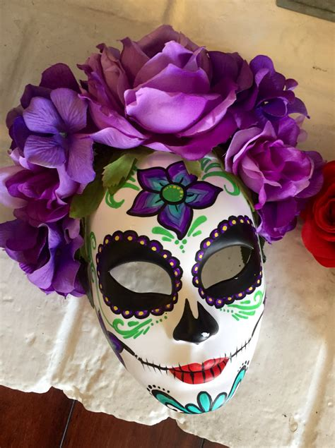 day of the dead sugar skull halloween mask day of the dead mask with flowers dia de los muertos