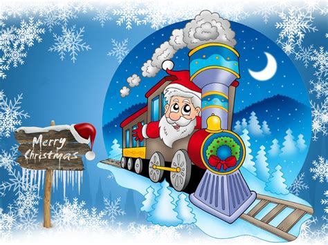 merry christmas greeting card  santa claus steam locomotive blue background  snowflakes