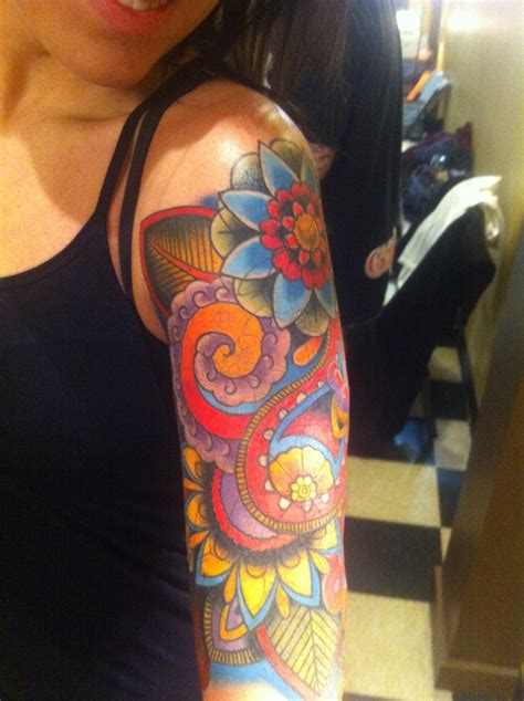 paisley tattoo sleeve paisley the bright colors in this one