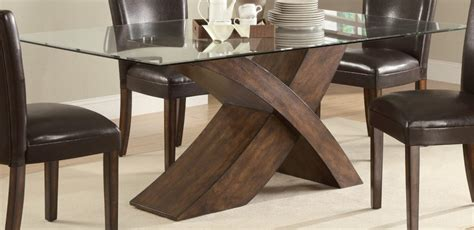 Dining Room Table Glass Top Wood Base Furniture Glass Top Dining Table With Wooden Base