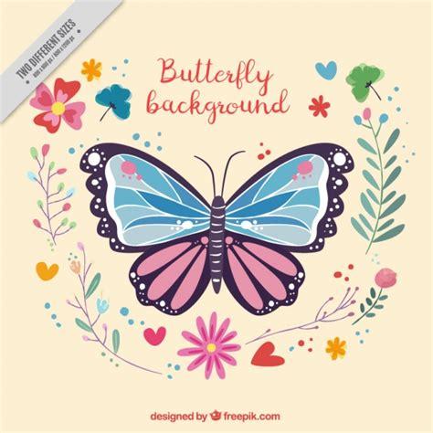 farfalle con fiori sfondo decorativo di farfalle e fiori scaricare vettori