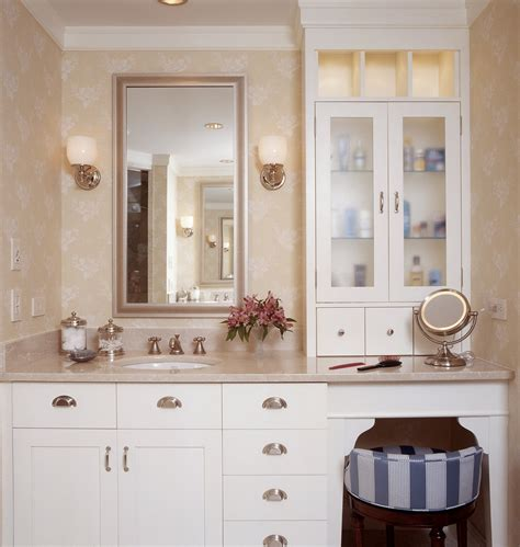 Bathroom Cabinets With Makeup Vanity Pretty Makeup Vanitiesin Bathroom Traditional With Beguiling Dual Vanity With Makeup Counter