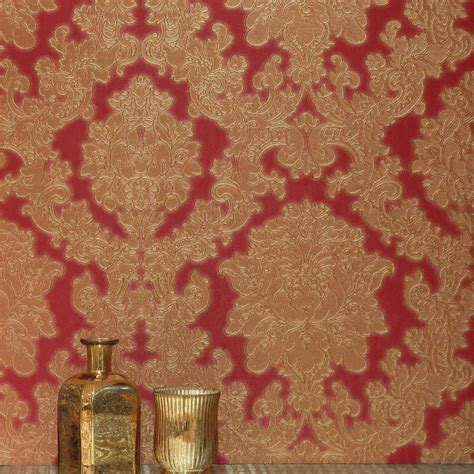 red damask wallpaper home decor arthouse vicenza damask wallpaper red