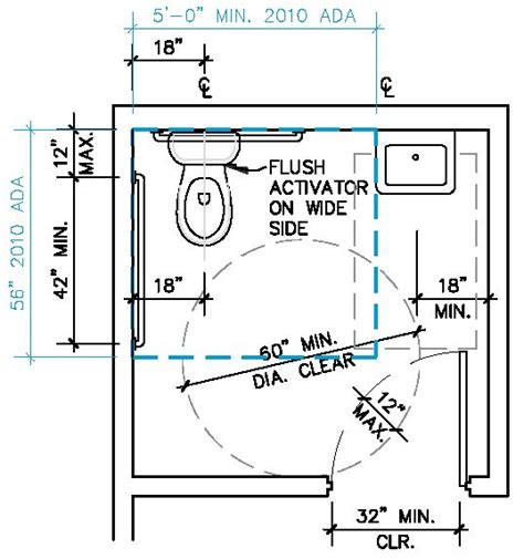 bathroom dimensions minimum ada single restroom google search design pinterest