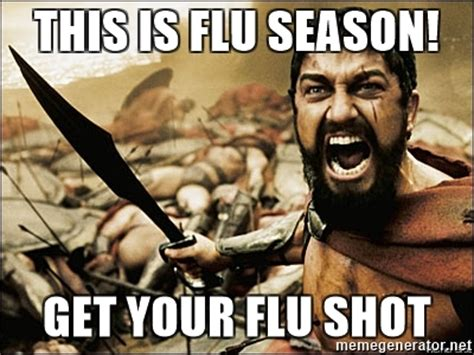 Flu Meme - this is flu season get your flu shot this is sparta
