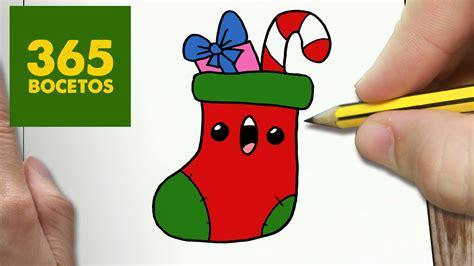 imagenes navidad faciles de hacer como dibujar calcetin navidad kawaii paso a paso dibujos