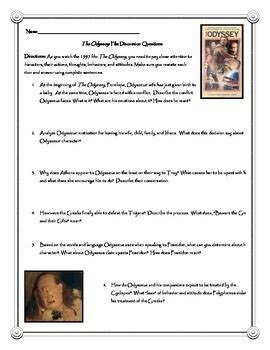 The Odyssey Worksheet Answers by The Odyssey Discussion Questions And Answer Key Tpt