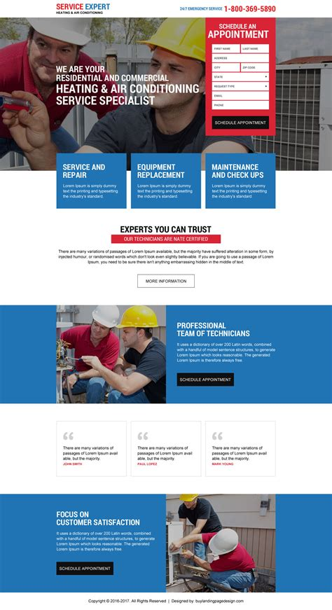 Great Lead Generating Landing Page Design For Your Caigns Heating And Cooling Website Template