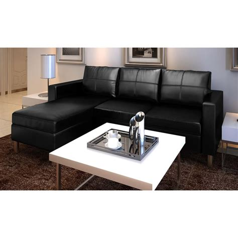 Real Leather Sectional Sofa Black Luxury Real Leather Sectional Sofa 3 Seats Vidaxl