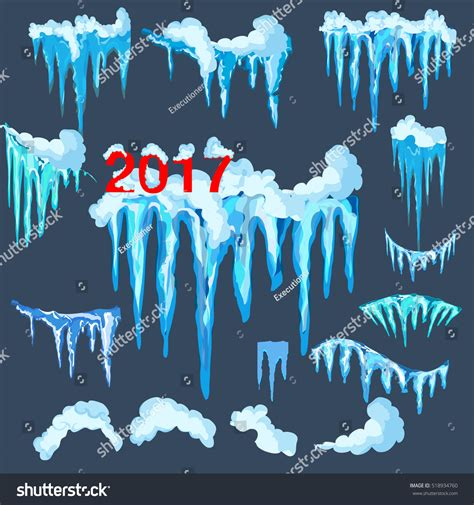Set Snowy set isolated snow cap icicles snowy stock vector 518934760