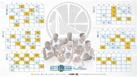 golden state warriors announce schedule for 2016 17 season