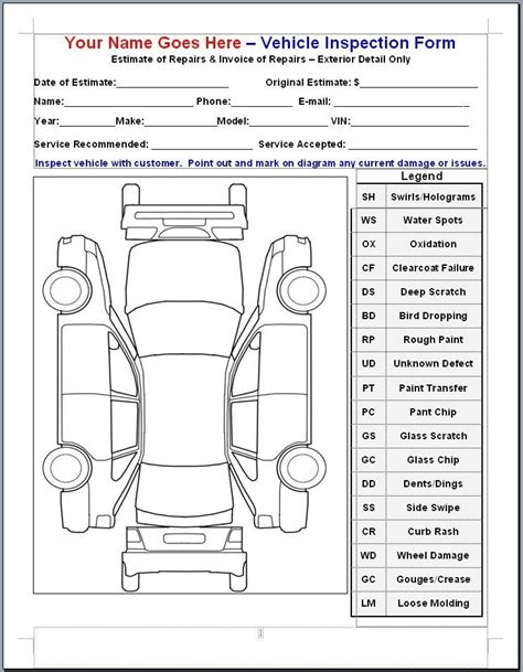 inspection form template vehicle inspection form template bikeboulevardstucson