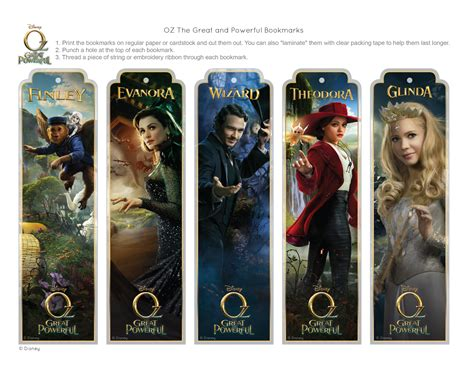 Oz The Great and Powerful Bookmarks   Disney Family