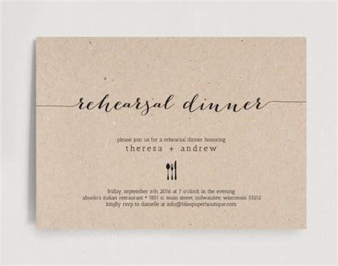 Wedding Dinner Invitation Card Template by Rehearsal Dinner Invitation Wedding Rehearsal Editable