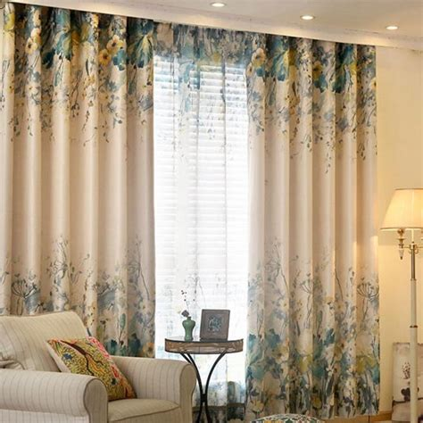 country bedroom curtains blue and beige floral print poly cotton blend country