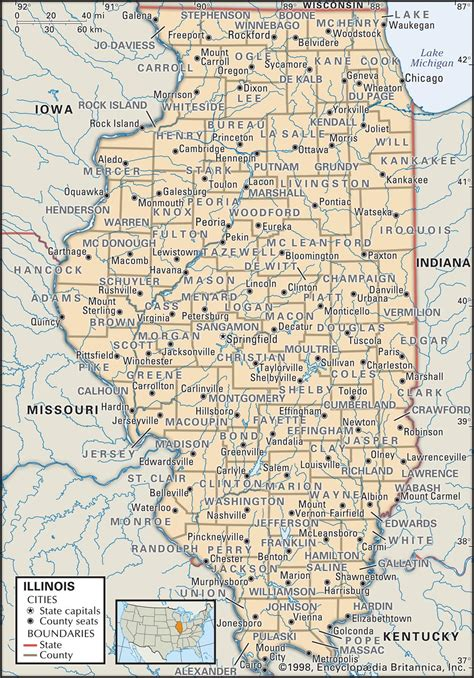 il map state and county maps of illinois
