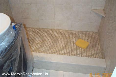 Shower Marble Threshold Installation.