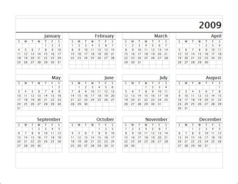 year long calendar template calendar template