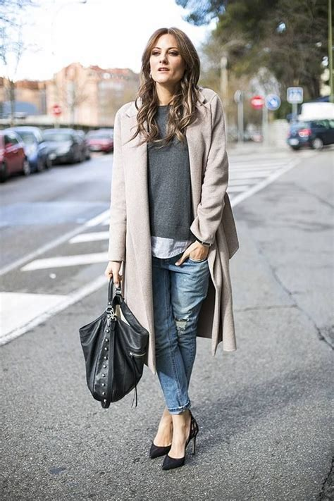 pinterest fashion women women dress for fall winter women style clothing outfit fashion coat cream jeans blue