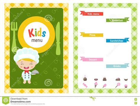 Kids menu design stock vector. Image of banner, cooker