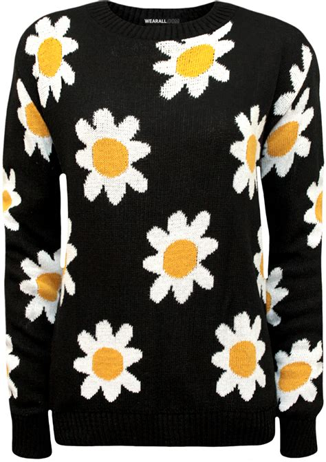 flower jumper pattern new womens big daisy floral pattern long sleeve top ladies