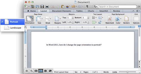 print layout view word 2010 definition ms word 2011 for mac change the page orientation to portrait