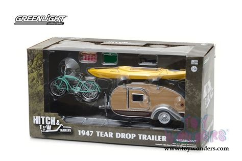 Acesoris Diecast Skala 24 greenlight hitch tow trailers series 3 1947 tear drop trailer with accessories 18430a 12 1