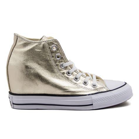 all converse con zeppa interna converse all 555153c sneaker mid con zeppa interna oro