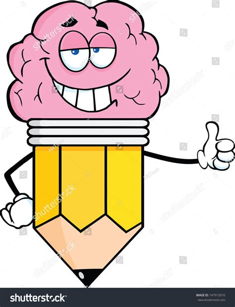 Clever Pencil Cartoon Character With Big Brain Giving A Big Brain Pricing