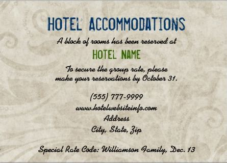 wedding hotel accommodation card template free wording to use when giving out room block information to