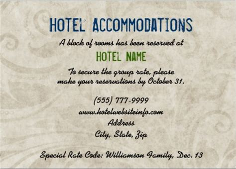 wedding hotel information card template wedding invitation wording wedding invitation wording