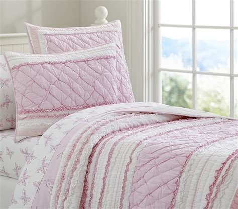 quilted comforters brigette ruffle quilted bedding pottery barn kids